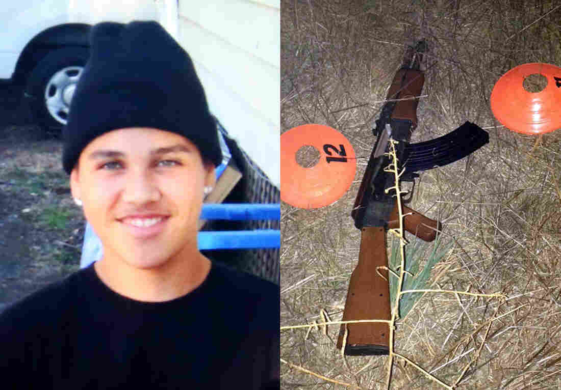 This combination of photos provided by the family via The Press Democrat and the Sonoma County Sheriff's Department shows an undated photo of 13-year-old Andy Lopez and the replica assault rifle he was holding when he was shot and killed by two Sonoma County deputies in Santa Rosa, Calif. on Tuesday.
