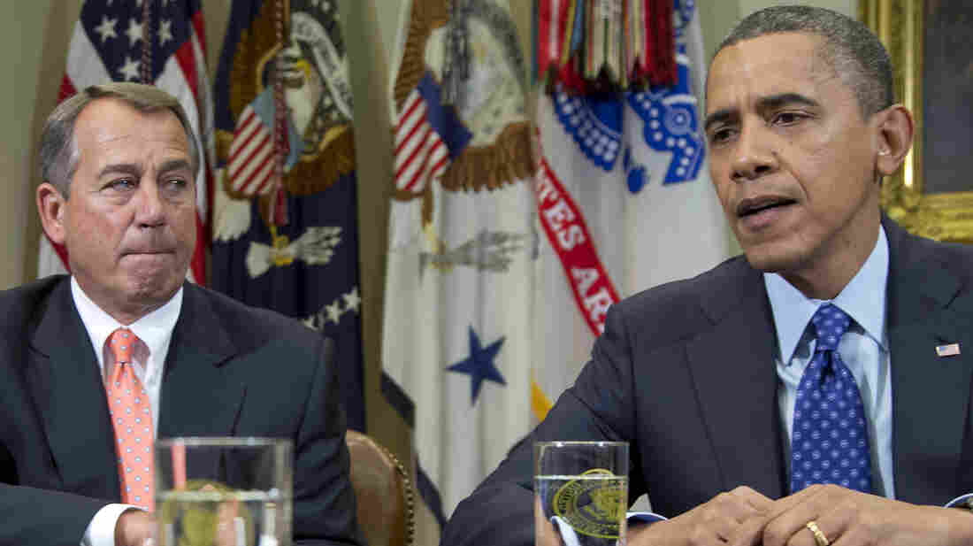 President Obama and House Speaker John Boehner of Ohio talk with reporters at the White House after a meeting about the federal budget deficit and economy in Nov. 2012. S