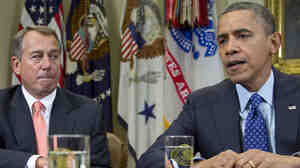President Obama and House Speaker John Boehner of Ohio talk with reporters at the White House after a meeting about the federal budget deficit and economy in Nov. 2012. Some Republicans have proposed raising the Medicare eligibility age to 67.