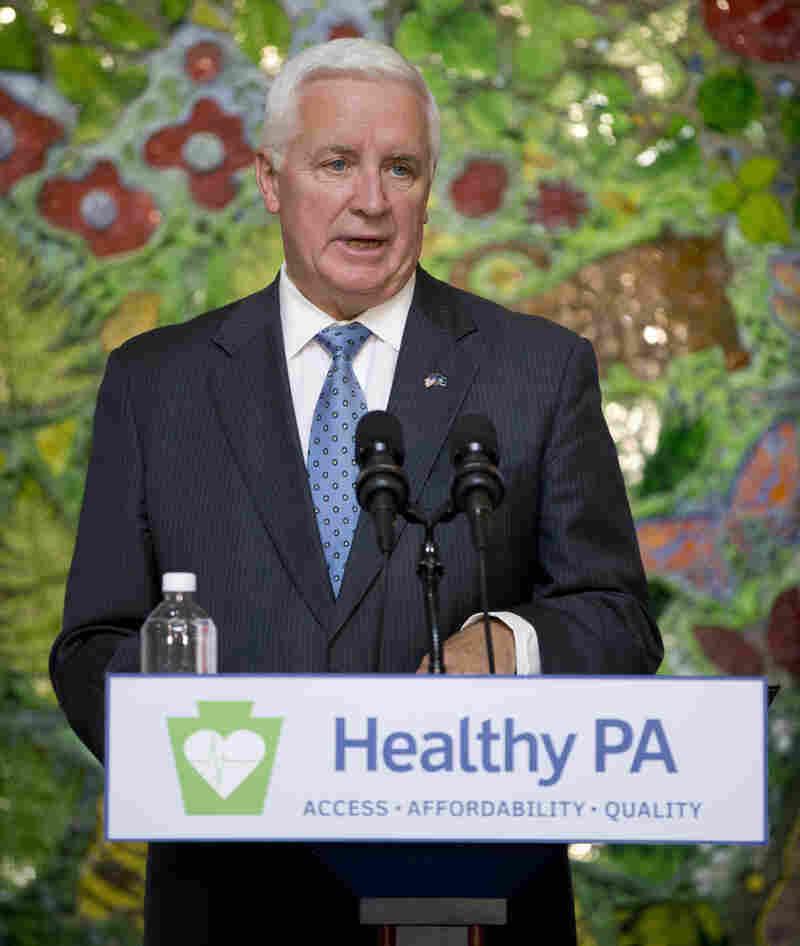 Pennsylvania Gov. Tom Corbett speaks at St. Christopher's Hospital for Children in Philadelphia on Wednesday. Corbett visited the hospital to promote his Healthy Pennsylvania initiative.