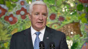 Pennsylvania Gov. Tom Corbett speaks at St. Christopher's Hospital for Children in Philadelphia on Wednesday. Corbett visited the hospital to promote his Healthy Pennsylvania initiative.