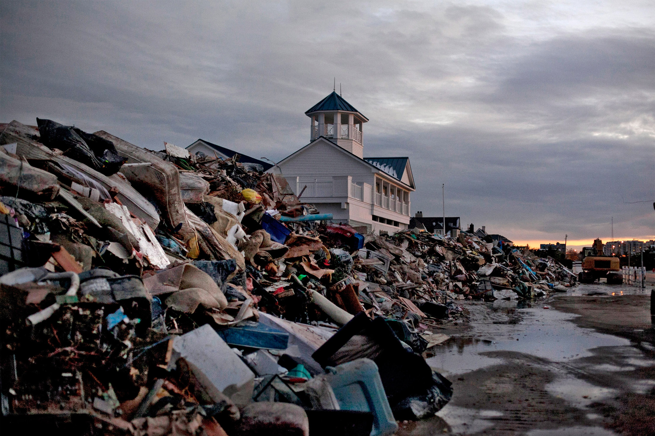 The Monmouth Beach pavilion is surrounded by debris on Nov. 8, 2012, in Monmouth, N.J.