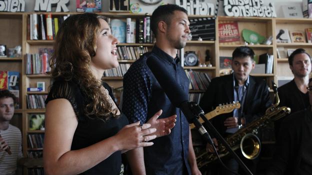 San Fermin performs at a Tiny Desk Concert on Sept. 19, 2013. (NPR)