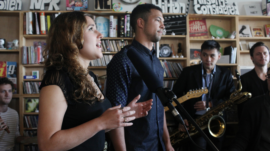 San Fermin performs at a Tiny Desk Concert on Sept. 19, 2013.