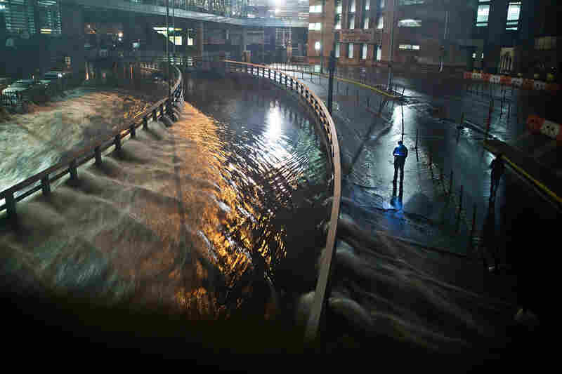 Rising water caused by Sandy rushes into New York City's Hugh L. Carey Tunnel (previously known as the Brooklyn-Battery Tunnel), Oct. 29, 2012.