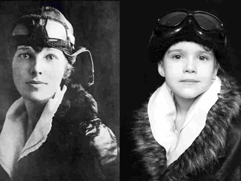 Emma poses as Amelia Earhart.
