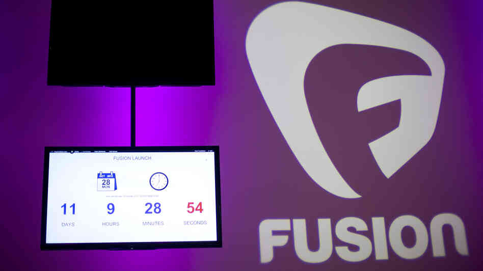 A countdown clock at Fusion's Miami studio tracks the time