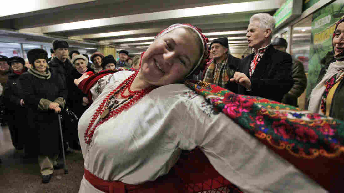 Ukrainians sing and dance in a subway in downtown Kiev in 2009. It has been a tradition for 20 years.