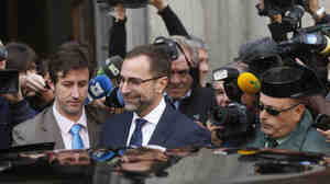 The U.S. ambassador to Spain, James Costos, leaves the Spanish Foreign Ministry after being summoned to a meeting in Madrid on Monday. He was called in following reports that the NSA was tracking millions of phone calls in Spain.