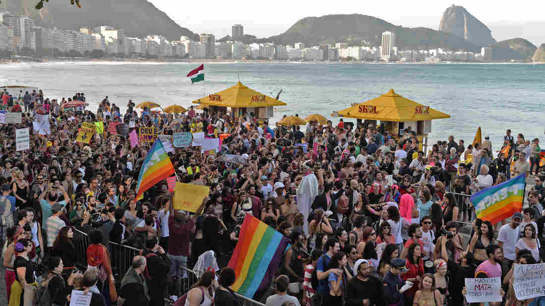Demonstrators who are critical of the Catholic Church and favor abortion rights take part in a protest in Rio de Janeiro during Pope Francis' visit to Brazil on July 27. Abortion is illegal in Brazil with rare exceptions. Some lawmakers are attempting to make it even more restrictive.