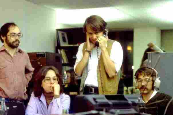 Reporting the news on what is, clearly, a very hairy situation. Pictured here (l-r) are NPR's Gary Covino, Anne Gudenkauf, Ted Clark and Christopher Koch in 1980, just moments before Ronald Reagan won the presidential election.