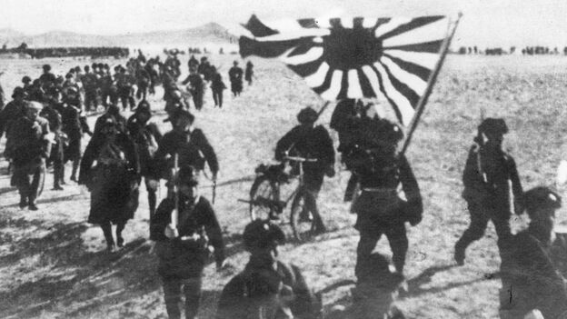 The Japanese army presses forward in the Pacific theater during World War II. (Getty Images)
