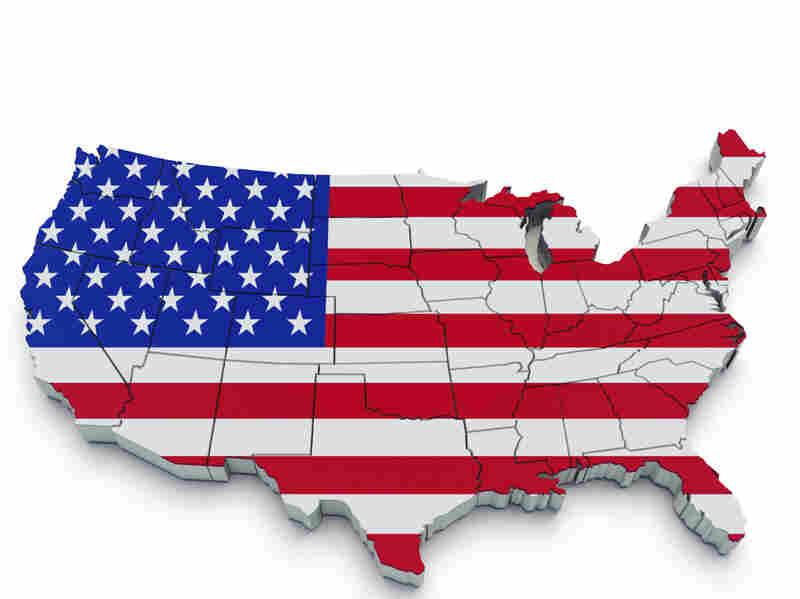 A U.S. flag map