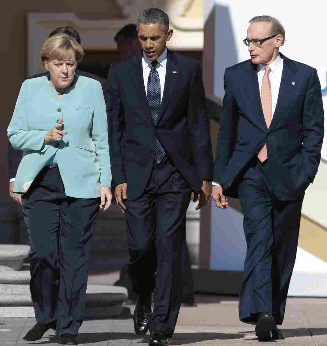 President Obama, German Chancellor Angela Merkel and Australian Foreign Minister Bob Carr in Russia in September in happier times before revelations that the NSA electronically eavesdropped on U.S. allies.
