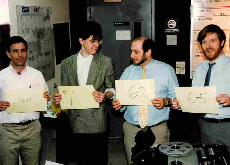 Richard L. Harris, Ira Glass, Robert Siegel and Neal Conan (l-r) pictured here in 1986. We imagine that the four were ranking their hairstyles.