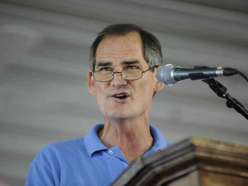 Kentucky Senate candidate Ed Marksberry, who's running as an independent, speaks during the 133rd Annual Fancy Farm Picnic in Fancy Farm, Ky., in August.