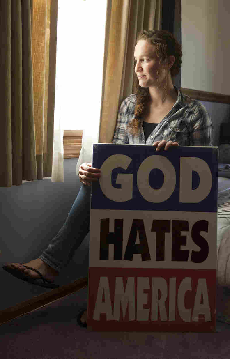 Megan Phelps-Roper, granddaughter of Westboro Baptist Church leader Fred Phelps, is seen durin