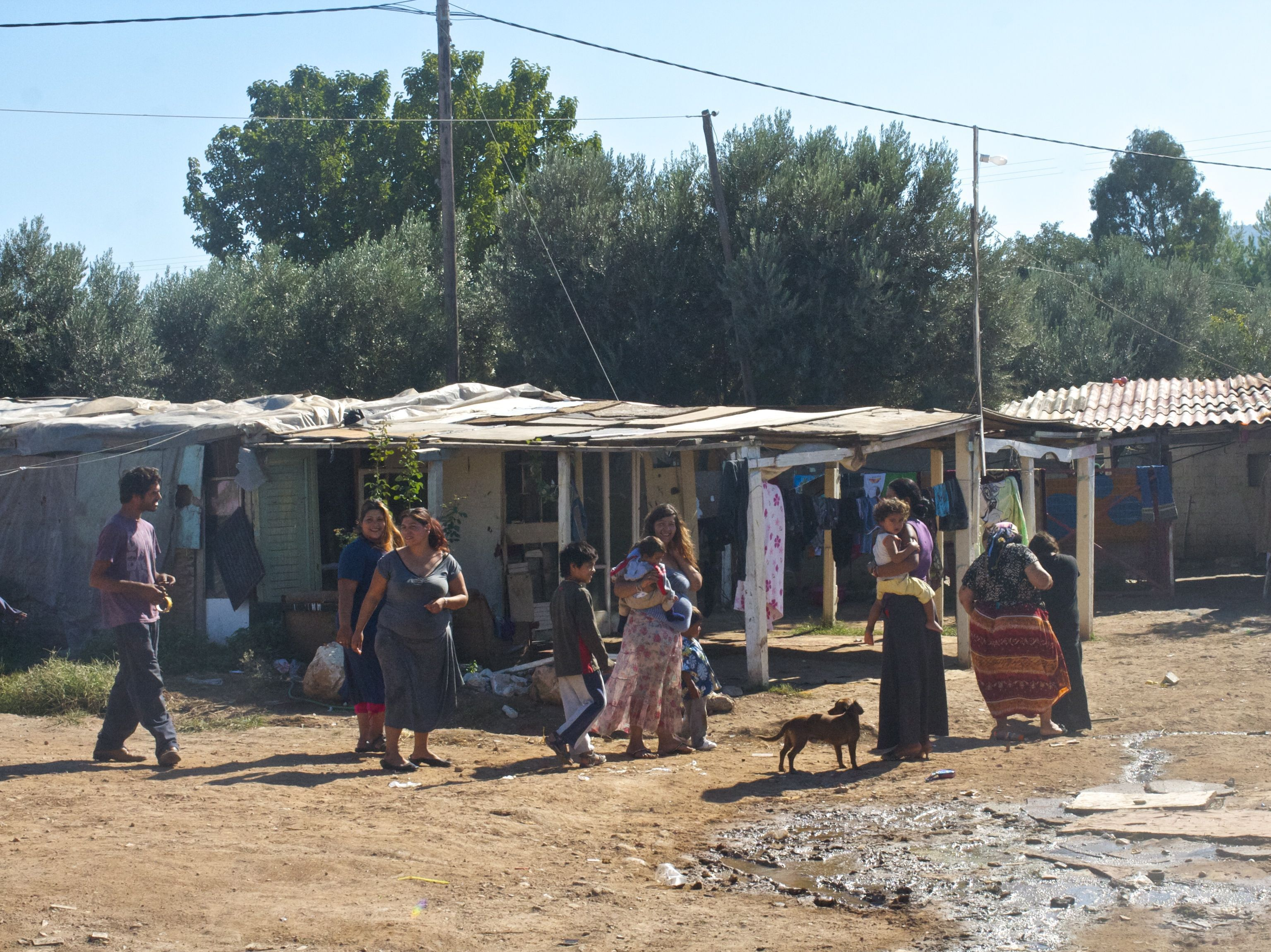 The poorest families in the Roma camp build shacks from plywood and scrap metal salvaged from the trash.