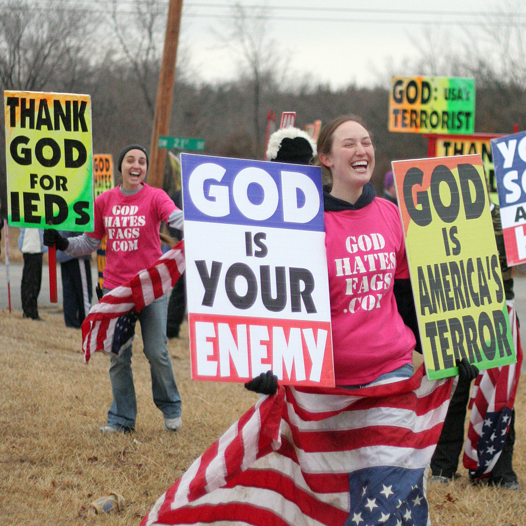 Westboro Baptist Church members hold a protest in Topeka, Kan., in this photo from the Showtime documentary Fall From Grace.