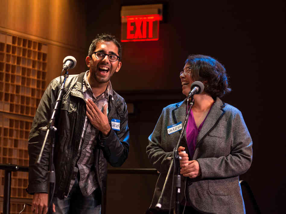 "Contestants Gautam Hans (left) and Sharyn Horowitz give their best Nicolas Cage impressions for ""National Treasures."""