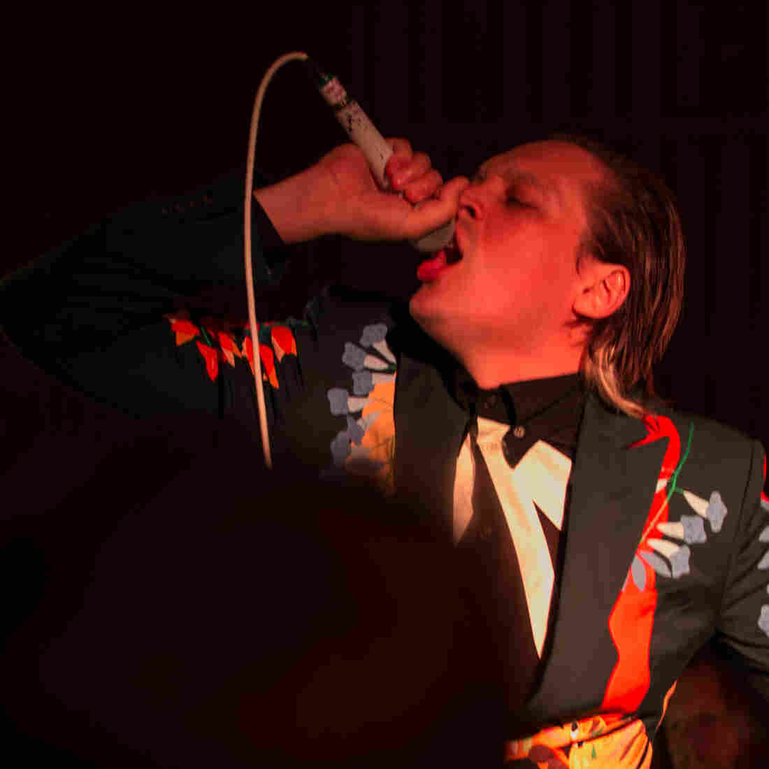 Arcade Fire's Win Butler, performing live at Capitol Studios in Los Angeles.