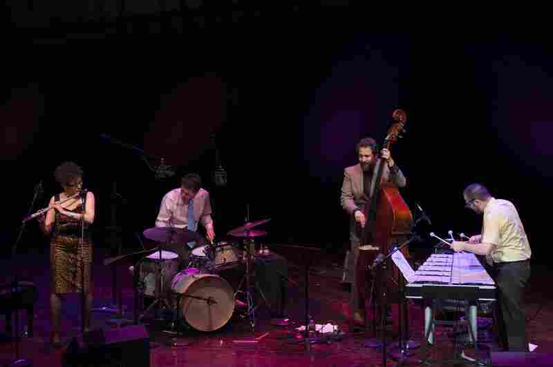Icy Crystal, left to right: Nicole Mitchell (flute), Frank Rosaly (drums), Joshua Abrams (bass), Jason Adasiewicz (vibraphone).