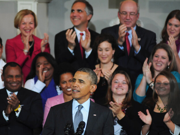 President Obama speaks Wednesday at Boston's Faneuil Hall about the implementation of the Afford