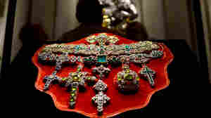A necklace of Saint Januarius, in gold, silver and precious stones, is displayed in Rome. The riches are from a treasure trove in Naples that is said to be worth more than the British crown jewels.