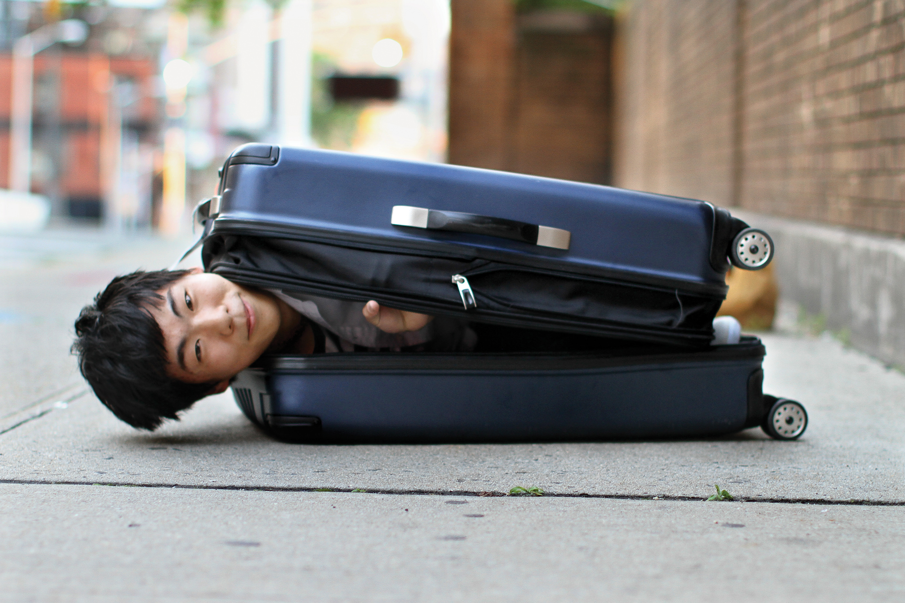 """My girlfriend is staying in an all-women's dorm and I don't have enough money to book a hotel for the entire time that I'm in New York,"" said the subject. ""So we're going to try to sneak me into her dorm in a suitcase."""