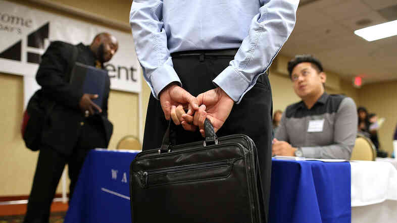 Looking for work: The scene at a job fair earlier this month in Emeryville, Calif.