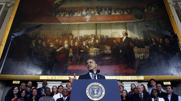 President Obama talks up the Affordable Care Act at Boston's historic Faneuil Hall on Wednesday. (AP)
