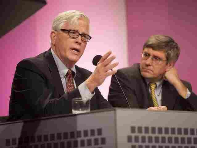 "Conservative radio host Hugh Hewitt (left) and Wall Street Journal editorial board member Stephen Moore argue in favor of the motion ""For A Better Future, Live In A Red State"" at an Intelligence Squared U.S. debate on Oct. 18."