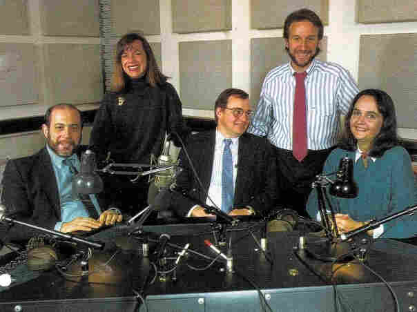 25 years ago, Robert Siegel and Renee Montagne (l-r) were co-hosts for All Things Considered. In 1988, the afternoon newsmagazine was already in its 17th year on-air. Also pictured (l-r): NPR's Alex Chadwick, Art Silverman and Lynn Neary.