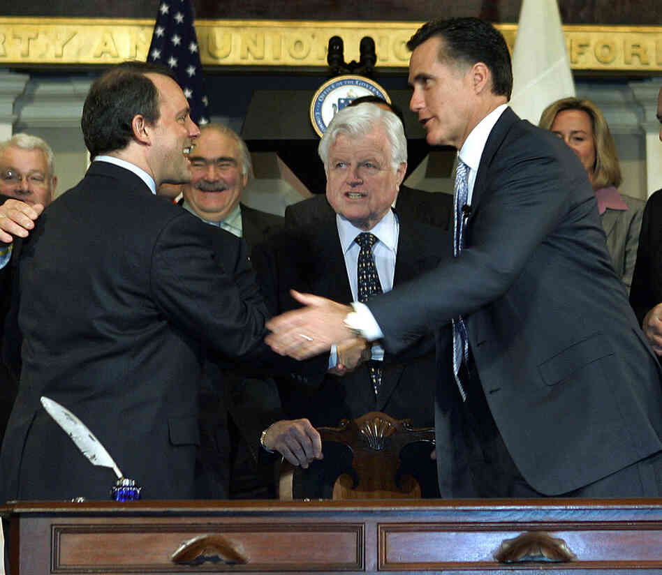 President Obama would like you to remember that Obamacare was based on Massachusetts legislation signed in 2006 by then governor and Republican Mitt Romney, pictured at the signing ceremony. And that rollout started slowly, too.
