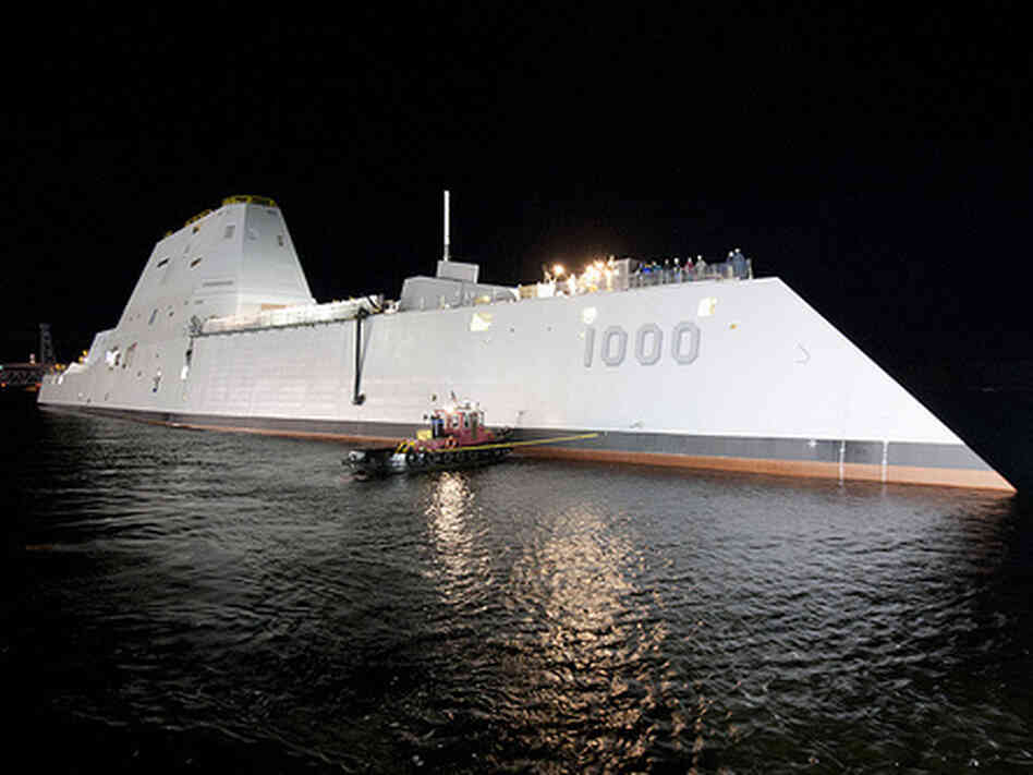 "The USS Zumwalt, the first in a new class of ""ste"