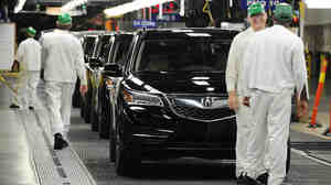 Acura MDX sport utility vehicles roll off the assembly line a
