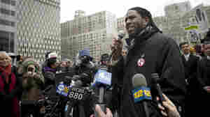 "New York City Council member Jumaane Williams speaks at a March demonstration in Lower Manhattan against the city's ""stop-and-frisk"" searches."