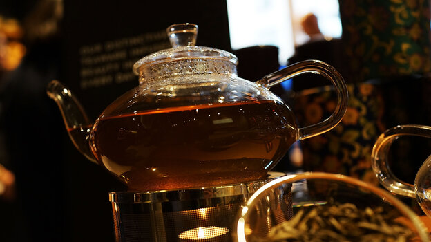 A pot of tea sits at the newly opened Teavana tea bar in New York City.