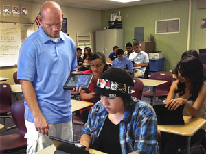 Coachella Valley High School math teacher Eddie Simoneau uses iPads with his students.