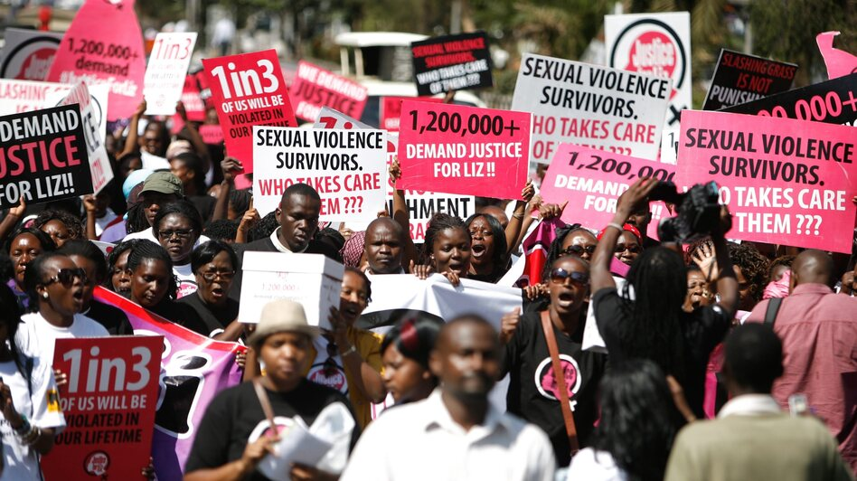 "Hundreds take to the streets in Nairobi on Thursday, calling for justice for a 16-year-old girl dubbed ""Liz,"" who was gang raped in rural Kenya. The men were caught by the police and let go after their punishment — cutting the grass at the police station."
