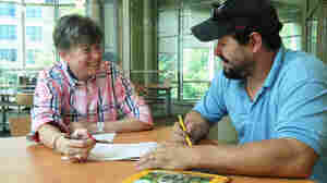 Marilyn Block tutors Jason White at a local library during a one-on-one session that is part of the Literacy Council of Montgomery County, in Maryland.