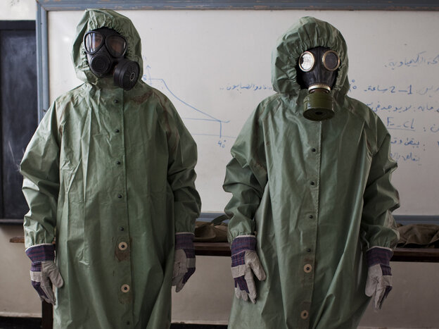 In the northern Syrian city of Aleppo last month, there was a class about how to protect against chemical weapons attacks.