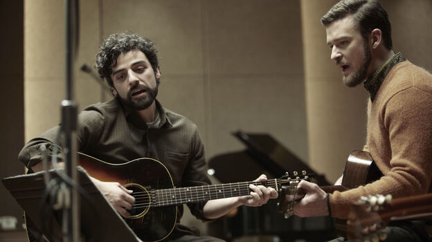 Oscar Isaac (left) and Justin Timberlake in a scene from Inside Llewyn Davis. Both are featured on the movie's soundtrack. (Courtesy of the artist)