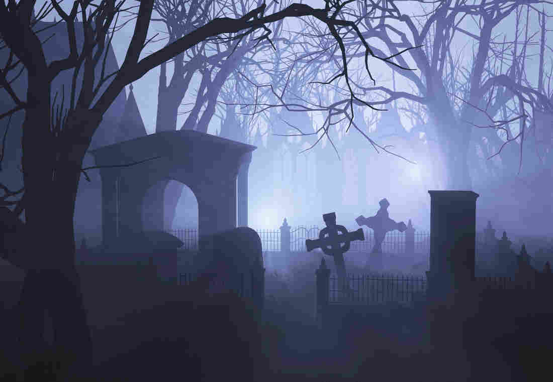 An illustration of a misty graveyard.