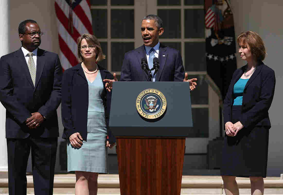 On June 4, President Obama introduces his nominees to the U.S. Court of Appeals for the District of Columbia Circuit: from right, Patricia Ann Millett, Cornelia T. L. Pillard and Robert L. Wilkins.