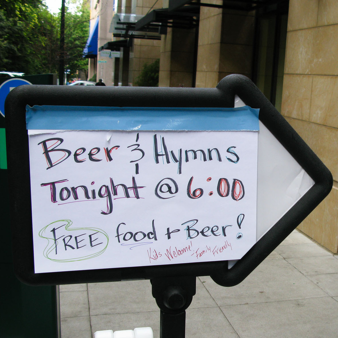 The sign for Beer & Hymns at First Christian Church in downtown Portland, Ore.