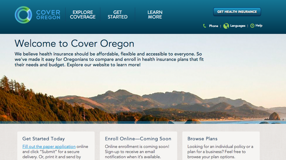 Cover Oregon's website asks people to fill out a paper application online, and then submit it electronically or by mail. (http://www.coveroregon.com/)