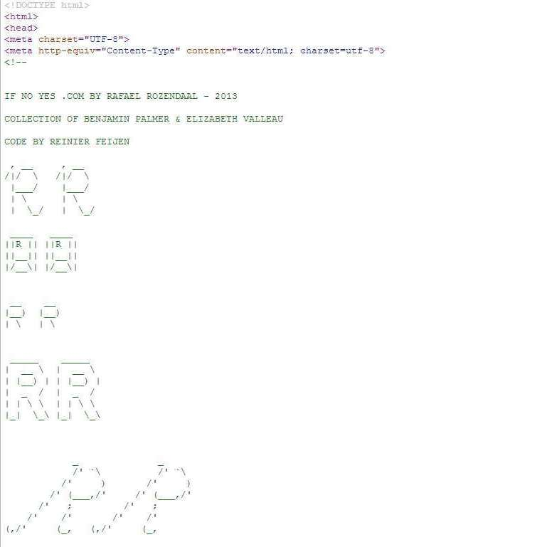The source code of ifnoyes.com shows the new owners' names and a signature, of sorts, from the artist.