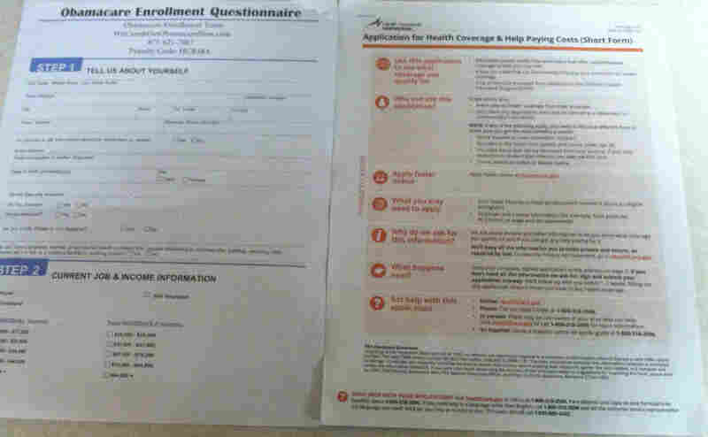 """An """"Obamacare Enrollment Team"""" application, left, and an official application from HealthCare.gov."""
