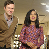 Scandal star Kerry Washington, right, does a promotional shoot with Saturday Night Live cast member Taran Killam. Washington is hosting the late night comedy sketch series Saturday night.